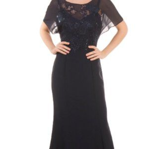 MUSANI Trumpet Navy Blue Gown Size 42